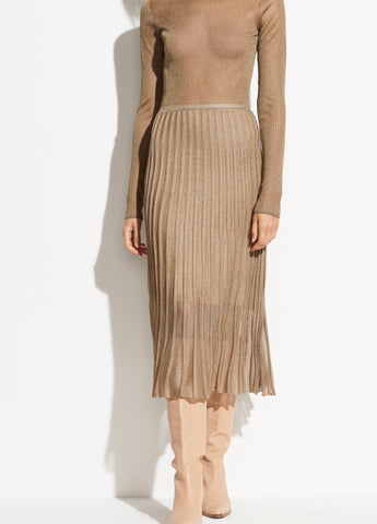 Metallic Pleated Skirt in Bronze