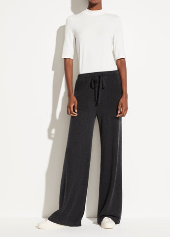 Wool Cashmere Wide Leg Pull On Pant in Heather Carbon