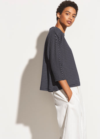 Pencil Stripe Dolman in Coastal/Optic White