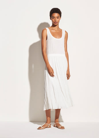 Pleated Scoop Neck Tank Dress in Off White