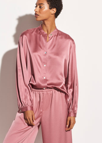 Shirred Satin Band Collar Blouse in Rose Root