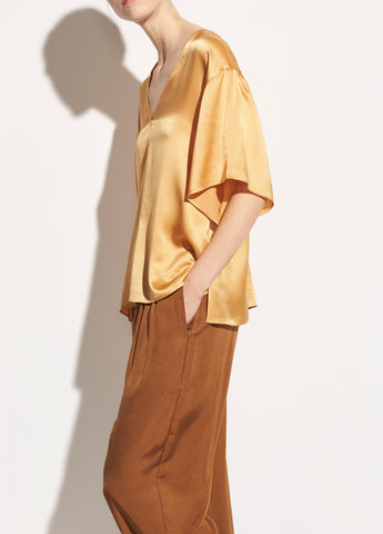 Satin Double V-Neck Blouse in Marigold