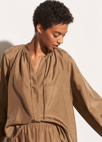Silk Habotai Poet Popover Blouse in Timber