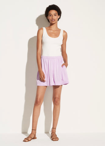 Pleated Satin Pull On Short in Lila