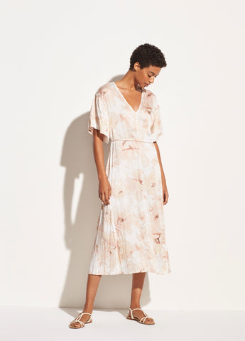 Painted Magnolia V-Neck Dress in Off White
