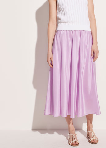 Gathered Silk Habotai Pull On Skirt in Lila