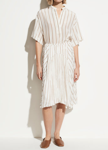 Silky Stripe Crushed Panel Skirt in Optic White