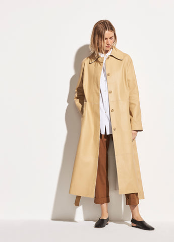 Double Face Leather Trench in Straw/Off White