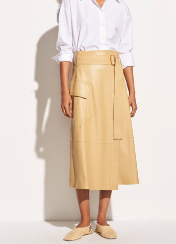 Belted Leather Wrap Skirt in Straw
