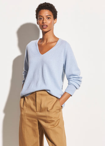 Marled Wool Cashmere V-Neck in Powder Blue