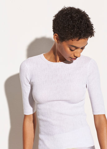 Broomstick Pleat Pullover in Optic White
