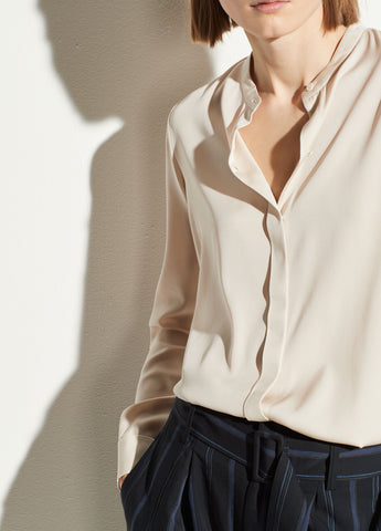 Band Collar Silk Blouse in Sandstone