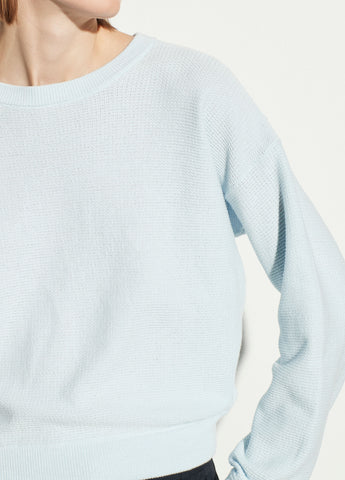 Long Sleeve Cotton Crew in Powder Blue