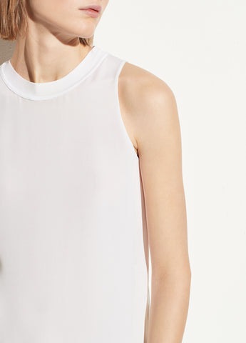 Rib Trim Silk Tank in Optic White