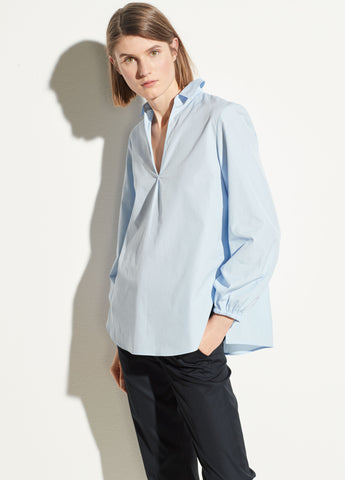 Swing Front Pullover Blouse in Powder Blue