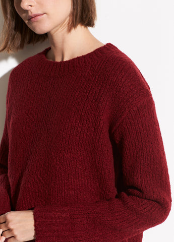Wool Textured Knit Pullover in Merlot