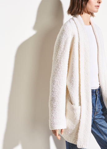 Wool Textured Knit Cardigan in Off White