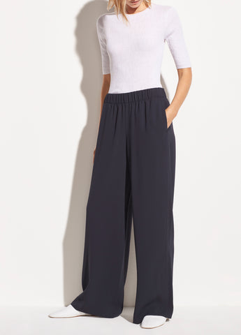 Wide Leg Pull On Pant in Coastal Blue