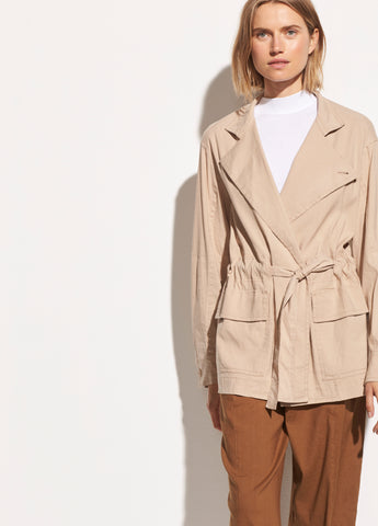 Drapey Linen Jacket in Oat