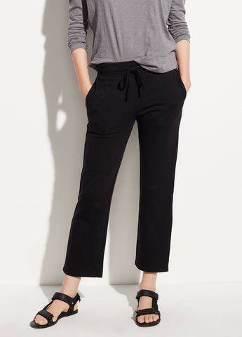 Cropped Cotton Sweatpant in Black