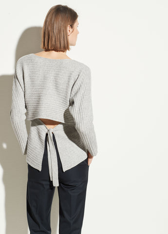 Tie Back Dolman in Heather Grey