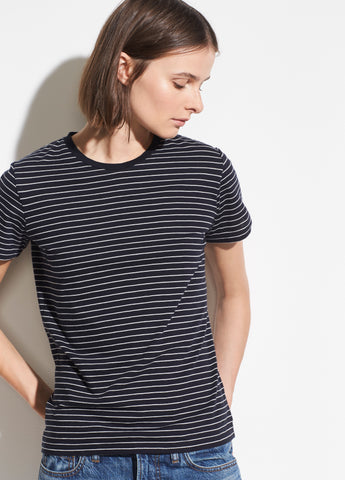 Pencil Stripe Short Sleeve Crew in Coastal/Vanilla