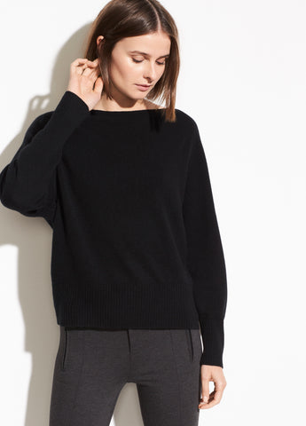 Wool Cashmere Boatneck Raglan in Black