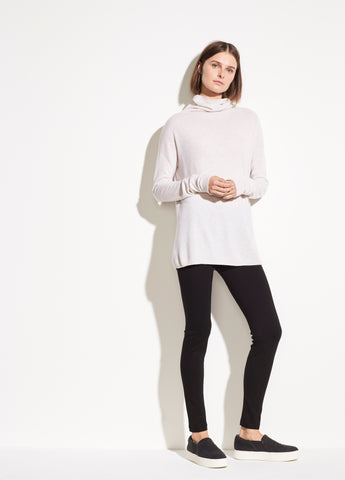 Wool Cashmere Turtleneck in Heather White