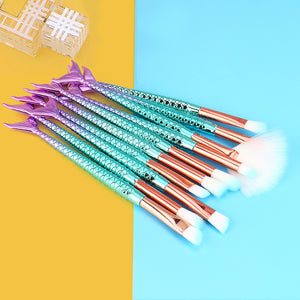 """Mermaid"" 10 Piece Makeup Brush Set"