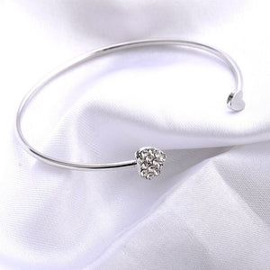 """Two Hearts"" Crystal Bangle Silver / Gold"