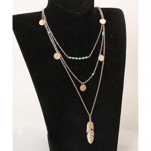 """Fly Free"" Multi-Layer Feather Pendant Necklace"