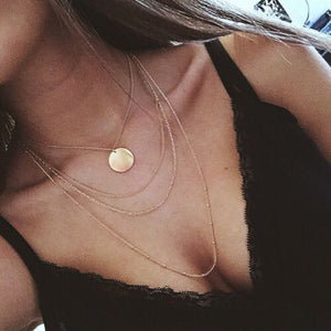 """Mermaid Coin"" Multilayer Gold Necklace"