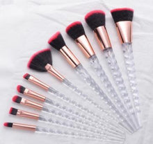 "Load image into Gallery viewer, ""Phoenix"" Crystal Unicorn 10 Piece Makeup Brush Set"