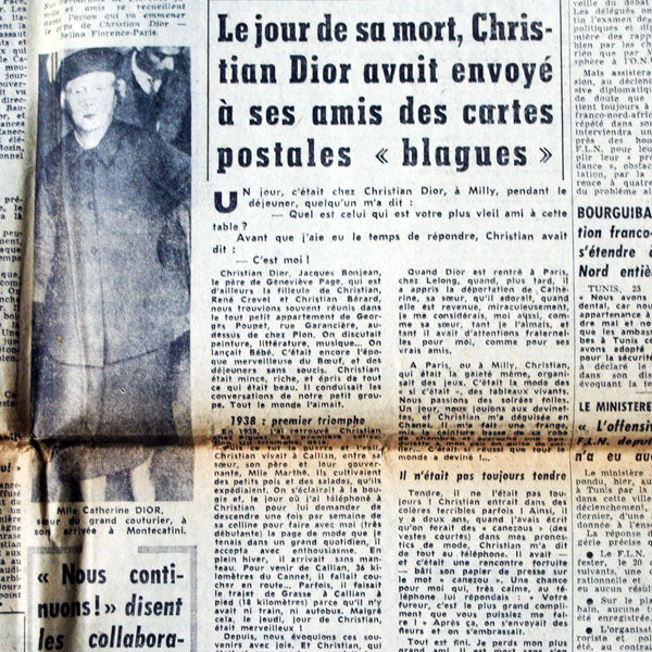 France Soir, 26 octobre 1957- mort de Dior, article d'Alice Chavane