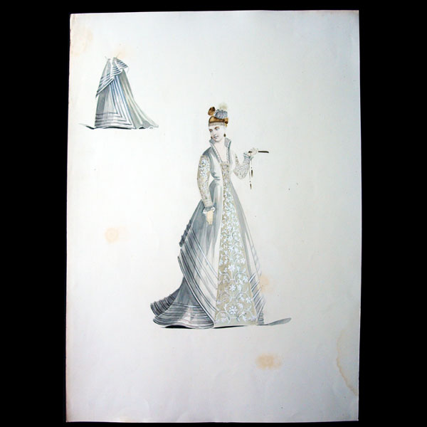 Projets de robes, ensemble de 2 dessins à l'aquarelle d'un dessinateur en costumes et robes (circa 1870)