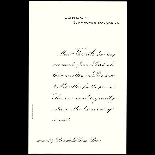 Worth - Invitation de la maison Worth, 3 Hannover Square à Londres (circa 1913)