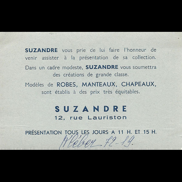Carton d'invitation de la maison Suzandre, 12 rue Lauriston à Paris (circa 1935)