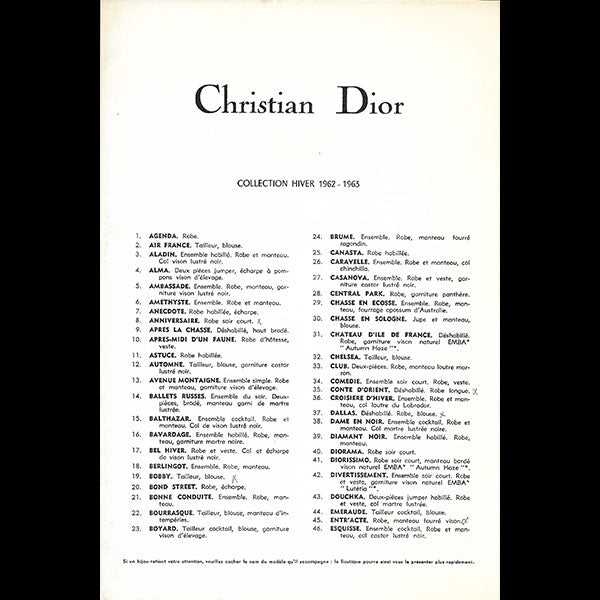 Christian Dior, collection Hiver 1962-1963