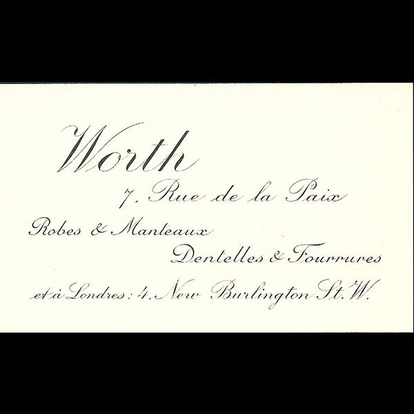 Worth - Carte de la maison Worth, 7 rue de la Paix à Paris (circa 1910s)
