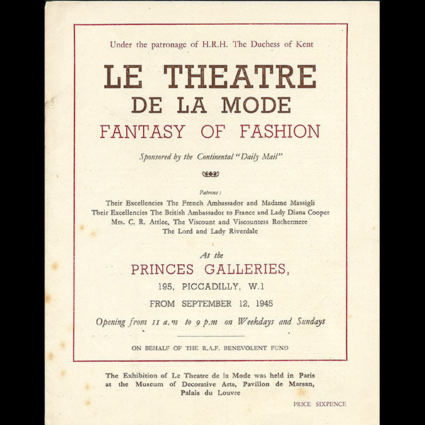 Le Théâtre de la Mode, Fantasy of Fashion - Programme de l'exposition de Londres (1945)