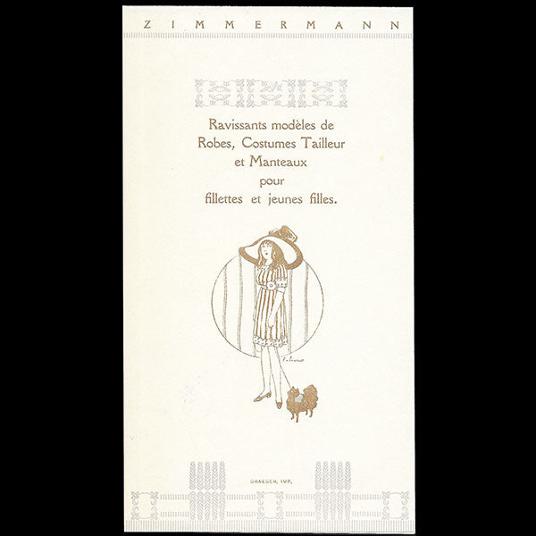 Zimmermann - Document publicitaire de la maison Zimmermann à Paris (circa 1910)