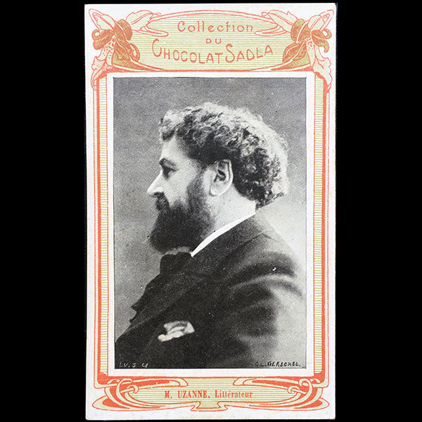 Octave Uzanne - Carte portrait de la collection du chocolat Sadla (circa 1900)