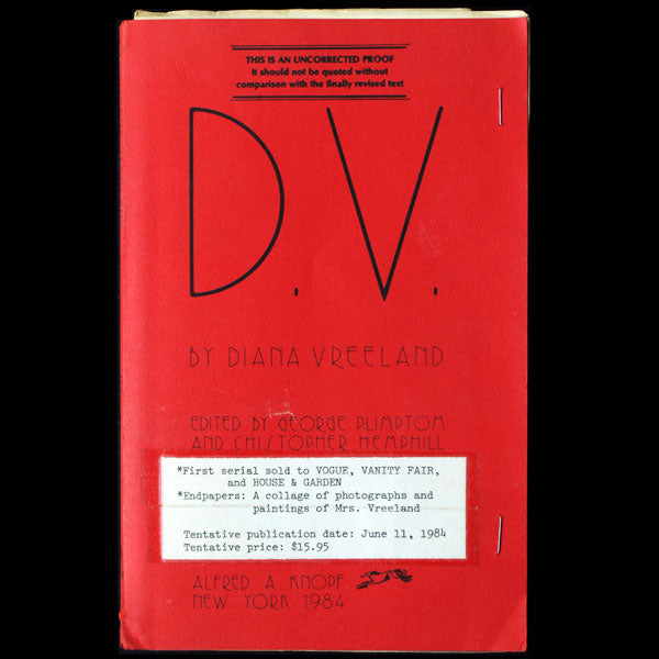D.V. by Diana Vreeland, uncorrected proof (1984)