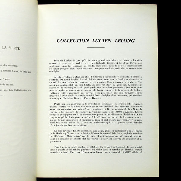 Lelong - Catalogue de la vente de la collection de Lucien Lelong (8-9 juin 1959)