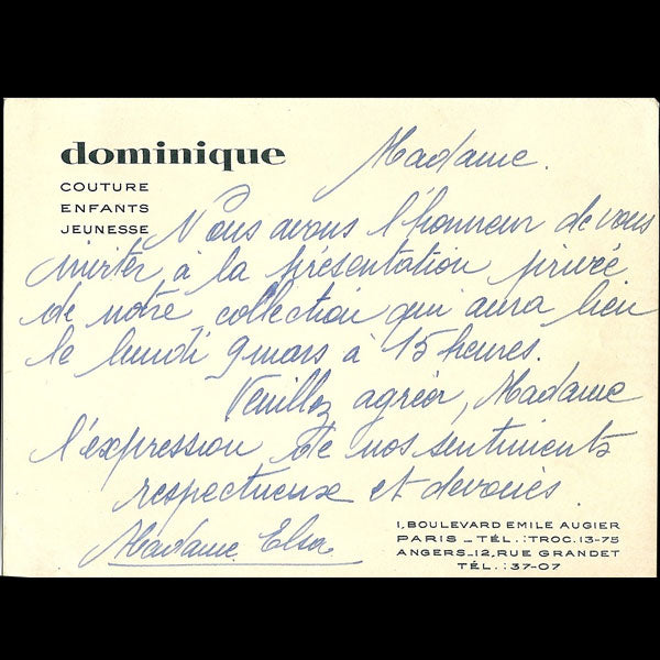 Carton d'invitation de la maison Dominique, 1 boulevard Emile Augier à Paris (circa 1930)