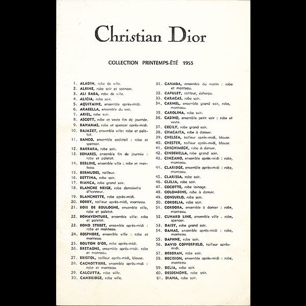 Christian Dior, collection Printemps-Eté 1953