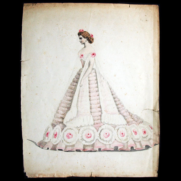 Projets de robes, ensemble de 3 dessins à l'aquarelle d'un dessinateur en costumes et robes (circa 1860-1870)