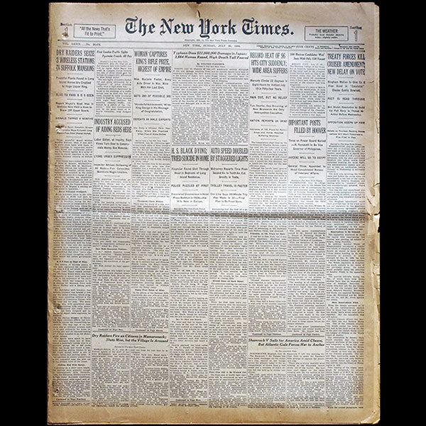 The New York Times, July 20th 1930