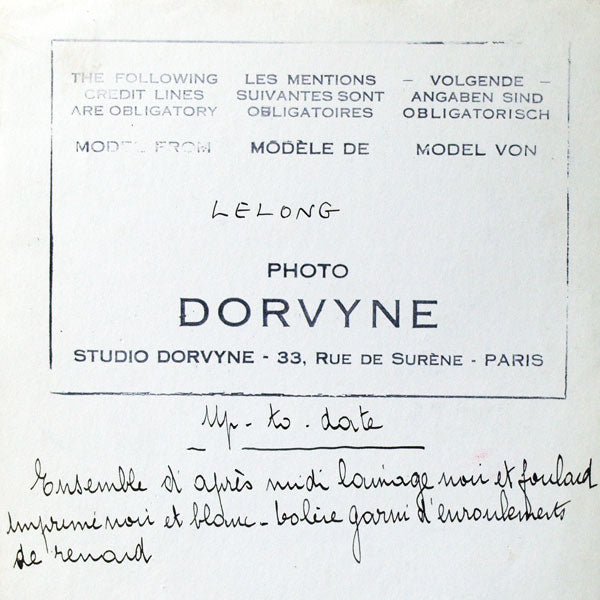 Ensemble Up-to-date de Lucien Lelong, photographie d'époque du studio Dorvyne (circa 1935)