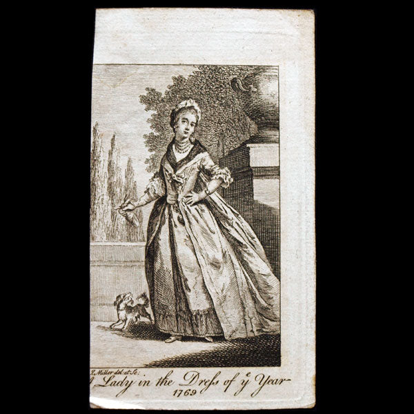 A Lady in the newest dress of 1769, gravure du Ladies Own Memorandum Book (1769)